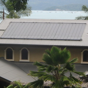 Installation of Grey Heliocol Solar Heating Panels